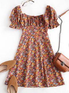 Floral Smocked Puff Sleeve Milkmaid Dress - Dark Orange Xl