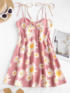 Floral Print Smocked Back Tie Strap Dress - Pink M