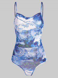 Mesh Dragon Print Sheer Oriental Cami Bodysuit - Sky Blue S