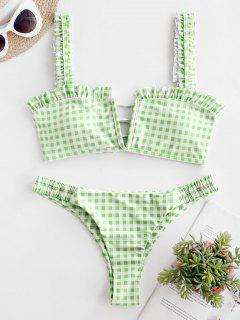 ZAFUL Plaid Ruffle Lace Up Bikini Set - Light Green M
