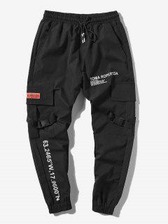 Jogger Pantalones De Estampado De Letras Y Bolsillos - Negro L