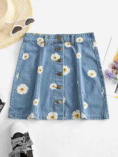 Button Up Daisy Print Denim Skirt - Denim Blue S