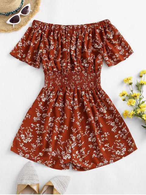 affordable Lace Up Off Shoulder Ditsy Floral Romper - RED M Mobile