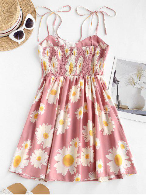 unique Floral Print Smocked Back Tie Strap Dress - PINK M Mobile
