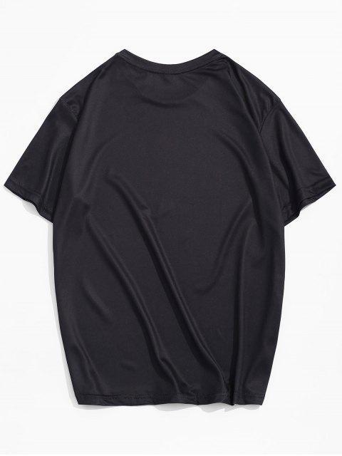 T-shirt de Lazer com Impressão Gráfica - Preto 3XL Mobile