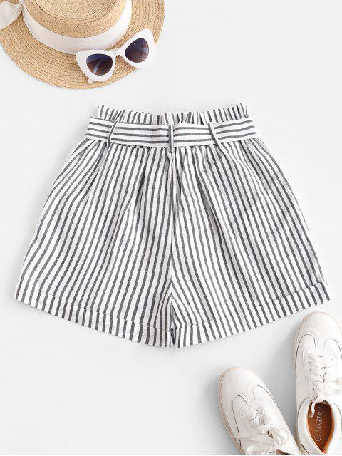 buy Vertical Striped Cuffed Paperbag Shorts - WHITE L Mobile