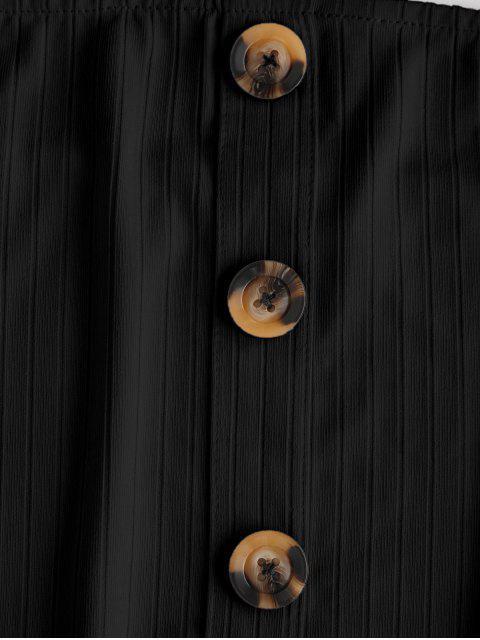 ZAFUL Top Bandeau Acanalado con Botones - Negro M Mobile