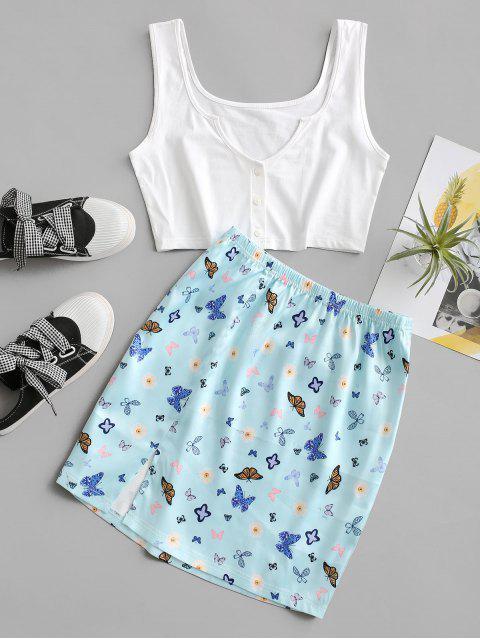 Satin V Notch Butterfly Floral Two Piece Dress Set - الكريستال الأزرق S Mobile