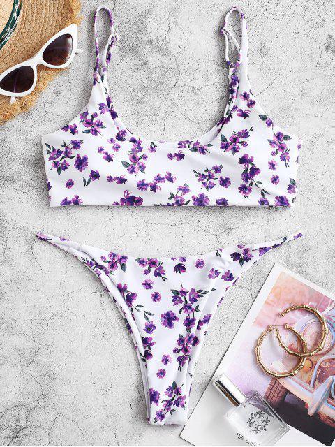 ZAFUL Ditsy Blumen Bikini Badebekleidung mit Niedriger Taille - Mauve S Mobile