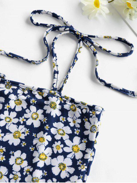 ZAFUL Camisole Courte Fleur à Epaule Nouée - Bleu de Minuit L Mobile