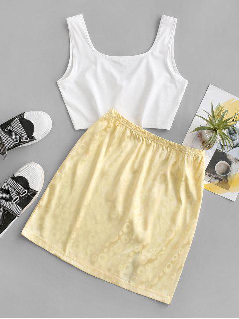 women's Jacquard Slit V Notch Two Piece Dress Set - YELLOW M Mobile