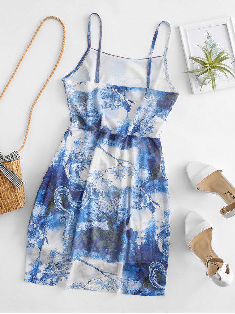 Mesh Drachendruck Geraffte Orientalische Cami Kleid - Himmelblau M Mobile