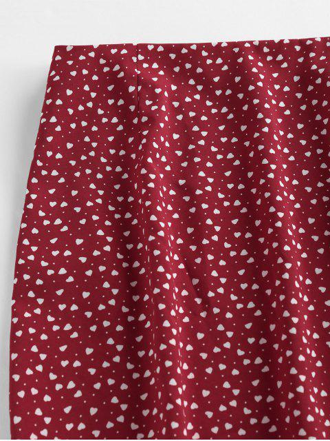 buy ZAFUL Heart Print Slit Mini Skirt - RED WINE L Mobile