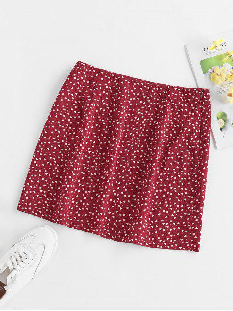 unique ZAFUL Heart Print Slit Mini Skirt - RED WINE XL Mobile