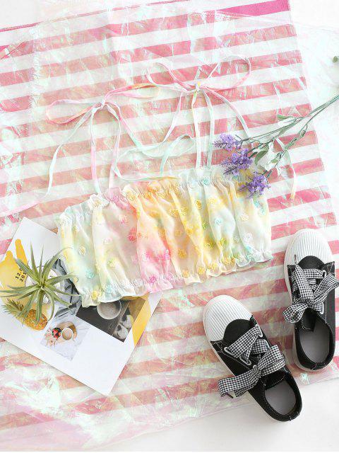 women's Tie Dye Frilled Swiss Dot Crop Cami Top - PINK S Mobile
