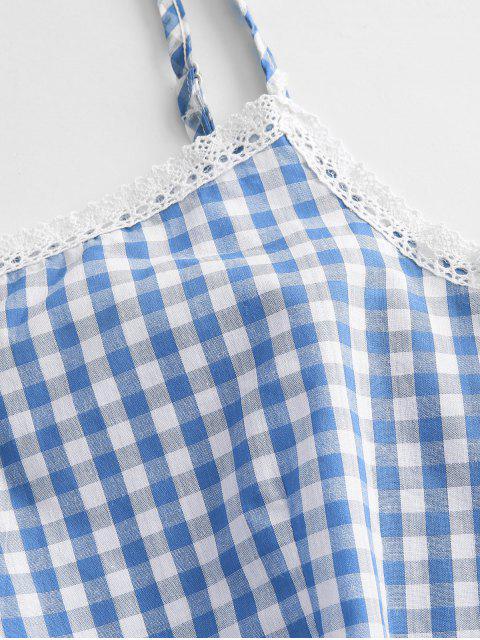 Top e Pantaloncini a Quadretti con Pannello in Pizzo - Blu Cielo  M Mobile