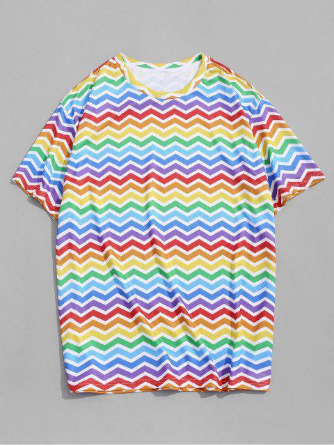 T-Shirt Stampata di Zigzag Colorato con Maniche Corte - Multi Colori-A M Mobile