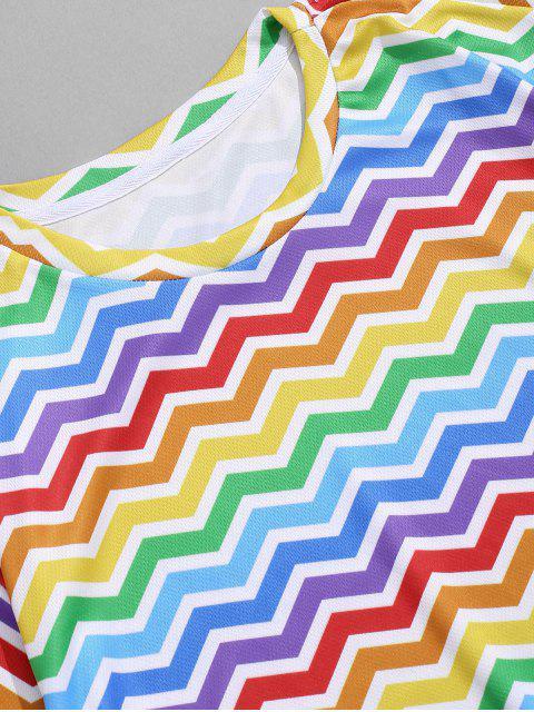 T-Shirt Stampata di Zigzag Colorato con Maniche Corte - Multi Colori-A XL Mobile