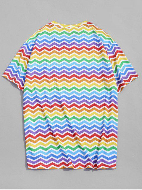 Colorful Zig Zag Printed Short Sleeves T-shirt - متعددة-A 3XL Mobile
