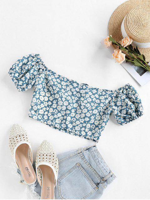 latest ZAFUL Bowknot Ditsy Print Crop Blouse - BLUE GRAY M Mobile