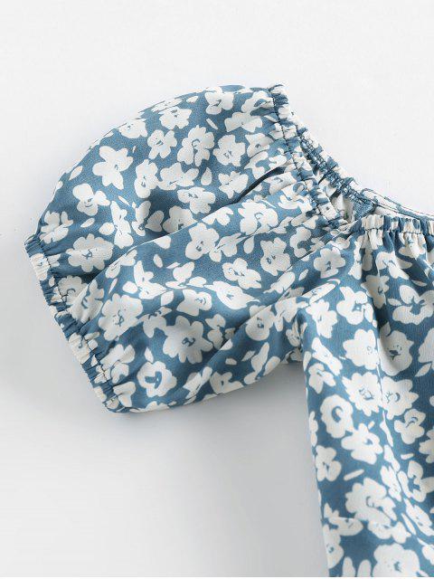 ZAFUL Chemisier Court Fleuri Imprimé avec Nœud Papillon - Bleu-gris XL Mobile