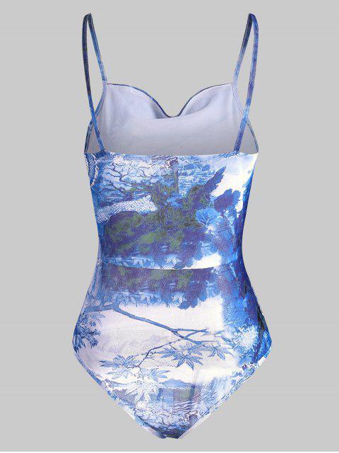 Body à Bretelle DragonOrientalImprimé en Maille Transparente - Bleu Ciel XL Mobile