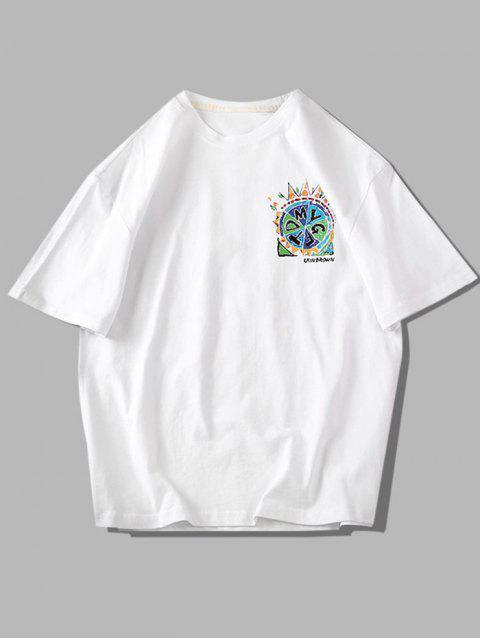 Camiseta Básica con Estampado de Pintura - Blanco 3XL Mobile