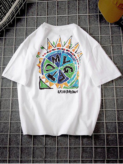 trendy Graphic Paint Short Sleeve Basic T-shirt - WHITE 4XL Mobile