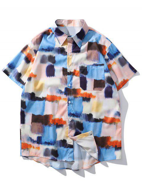 fancy Tie Dye Print Pocket Button Down Shirt - BLUE IVY 2XL Mobile