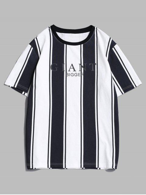 T-Shirt di ZAFUL Stampata Lettere a Righe con Maniche Corte - Bianca 2XL Mobile