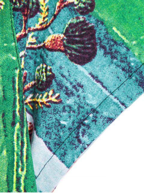 shop Leaf Pattern Block Ethnic Button Up Shirt - MULTI-A 3XL Mobile