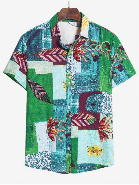 hot Leaf Pattern Block Ethnic Button Up Shirt - MULTI-A L Mobile