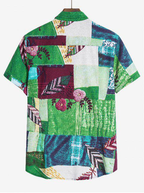 new Leaf Pattern Block Ethnic Button Up Shirt - MULTI-A M Mobile