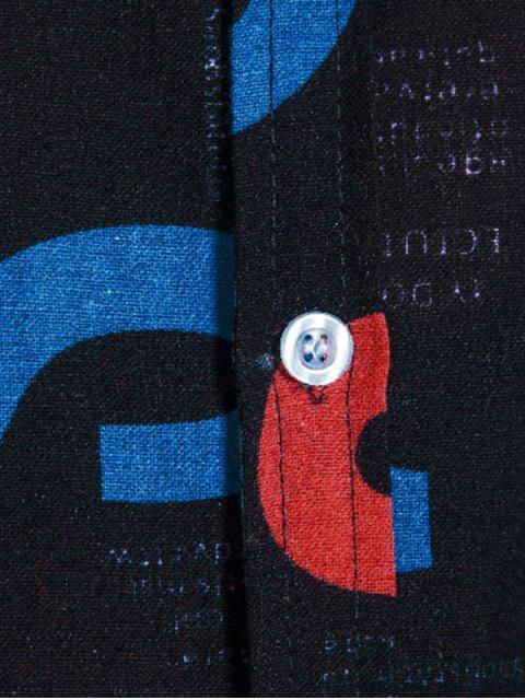 best Letter Print Lounge Button Up Shirt - MULTI 2XL Mobile