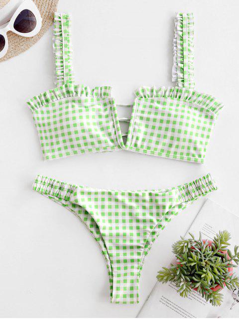 ZAFUL Kariertes Bikini Set mit Schnürung und Rüschen - Hellgrün M Mobile