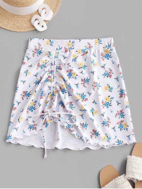 affordable ZAFUL Cinched Lettuce-trim Floral Skirt - WHITE L Mobile
