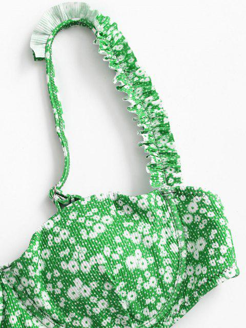 latest ZAFUL Ribbed Ditsy Print Frilled Underwire Balconette Bikini Swimwear - CLOVER GREEN S Mobile
