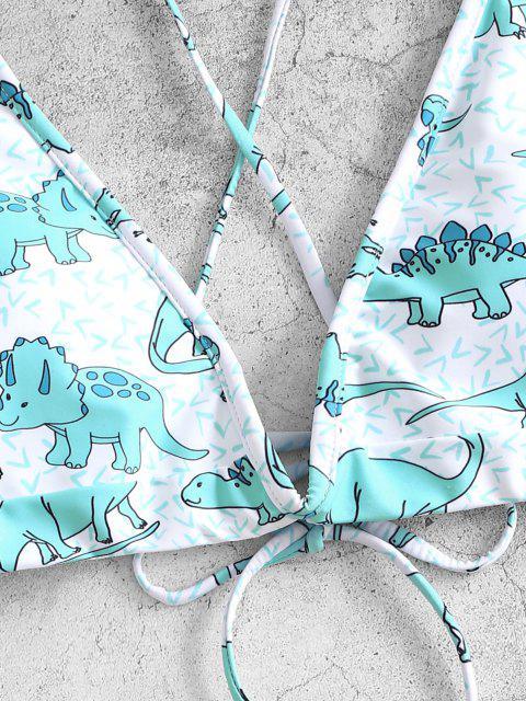 fashion ZAFUL Dinosaur V Wired Cross High Cut Bikini Swimsuit - CELESTE M Mobile