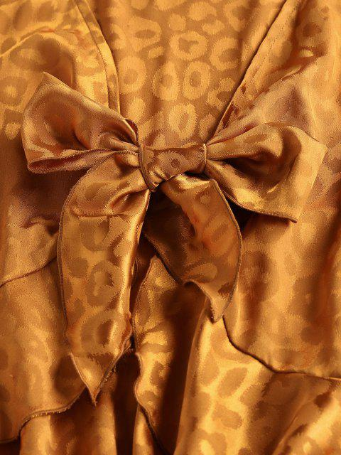 women ZAFUL Leopard Jacquard Ruffle Tie Long Sleeve Blouse - BROWN XL Mobile