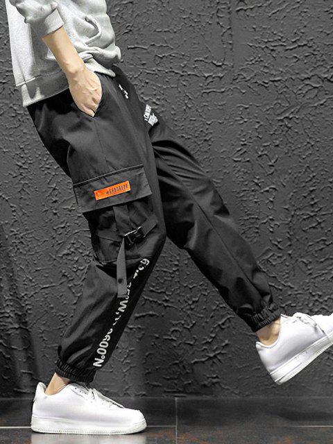 Jogger Pantalones de Estampado de Letras y Bolsillos - Negro 2XL Mobile