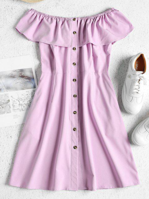 fashion ZAFUL Off Shoulder Button Up Mini Dress - MAUVE L Mobile