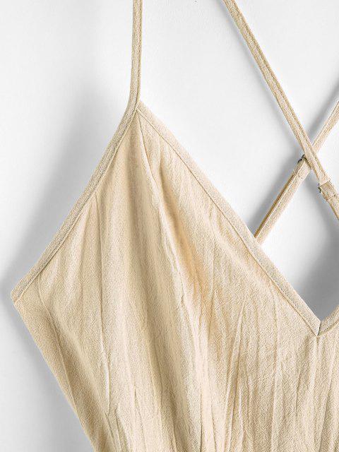unique ZAFUL Ruffles Criss Cross Solid Cami Dress - LIGHT KHAKI XL Mobile