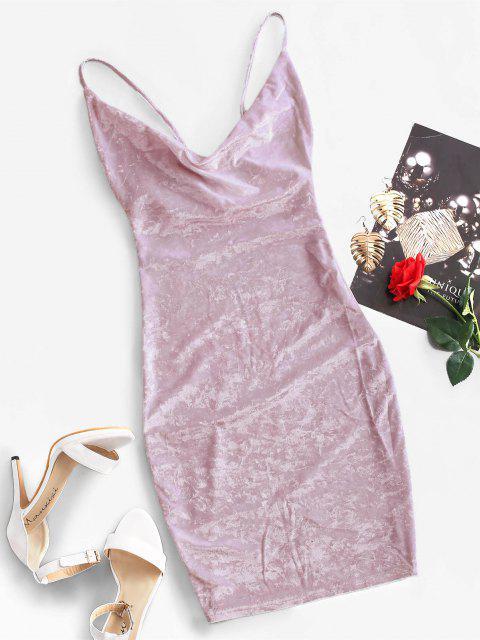 lady Cowl Front Velvet Bodycon Dress - WISTERIA PURPLE M Mobile