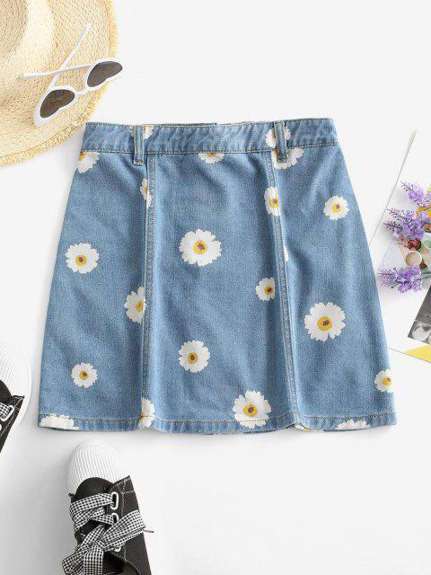 women Button Up Daisy Print Denim Skirt - DENIM BLUE XS Mobile