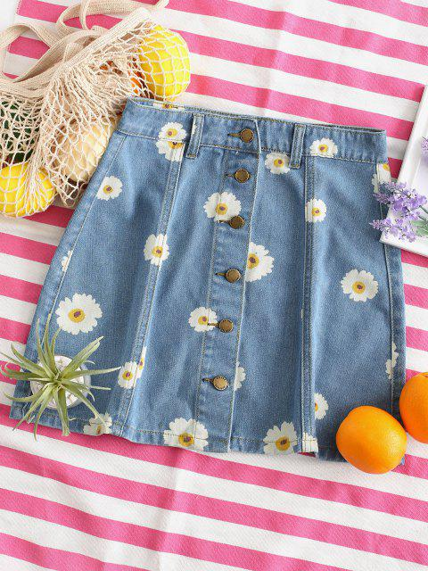 unique Button Up Daisy Print Denim Skirt - DENIM BLUE S Mobile