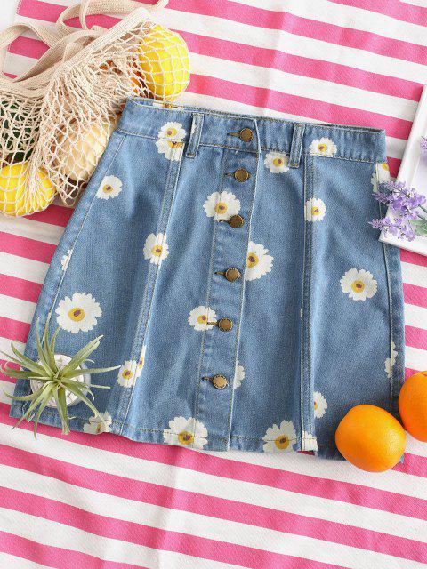 hot Button Up Daisy Print Denim Skirt - DENIM BLUE M Mobile