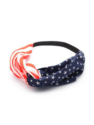 Flag Pattern Elastic Chiffon Headband - Multi-a