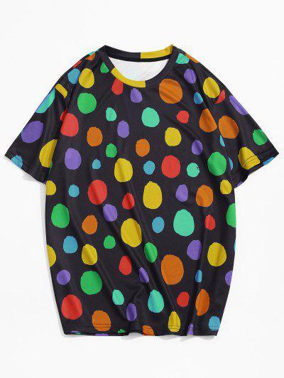 Camiseta Casual de Puntos de Color Bloque con Mangas Cortas