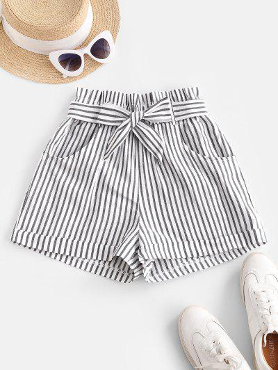 Vertical Striped Cuffed Paperbag Shorts - White S
