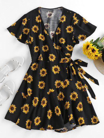 ZAFUL Sunflower Flutter Sleeve Wrap Dress - Black M